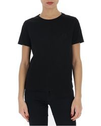 Loewe Logo Embroidered T-shirt - Black