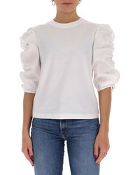 See By Chloé Ruffled Sleeve Top - White