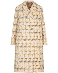 Tory Burch Embroidered Peacoat - Natural