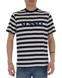 Sunnei Striped Logo T-shirt - Blue
