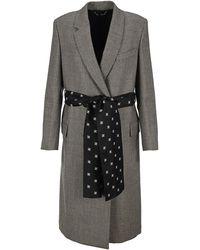 Fendi Double Breasted Logo Belt Detail Coat - Grey