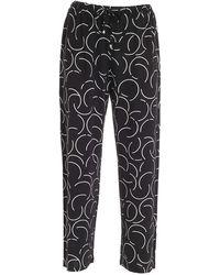 Max Mara Beachwear Printed Drawstring Trousers - Black