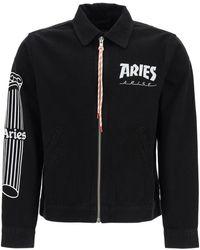 Aries Jacket With Temple Logo Print S Cotton,denim - Black