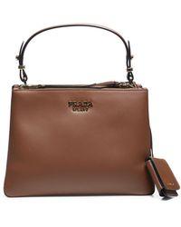 Prada Double Zip Top Handle Shoulder Bag - Brown
