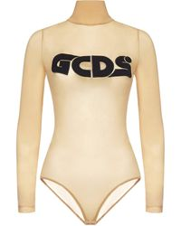Gcds Logo Embroidered Long-sleeve Top - Natural