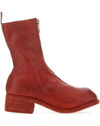 Guidi Pl2 Front Zip Boots - Red