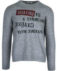 Valentino Jamie Reid Slogan Sweater - Gray