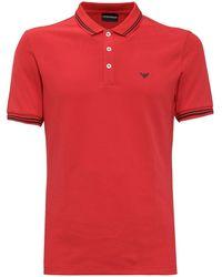 Emporio Armani Logo Print Short-sleeved Polo Shirt - Red