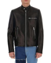 Prada Zipped Leather Jacket - Black
