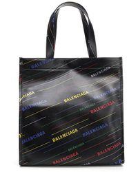 Balenciaga - Slide Logo Leather Tote Bag - Lyst