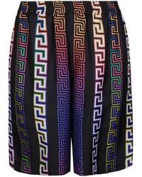 Versace Greca Print Bermuda Shorts - Blue