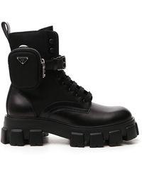 Prada Monolith Recycled-nylon Combat Boots - Black