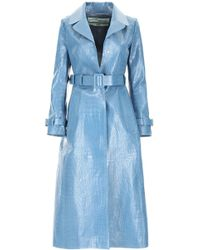 Off-White c/o Virgil Abloh Croc Print Leather Trench Coat - Blue