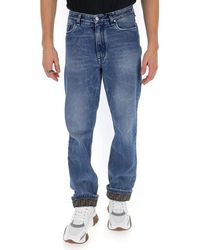 Fendi Ff Cuffed Straight Leg Jeans - Blue