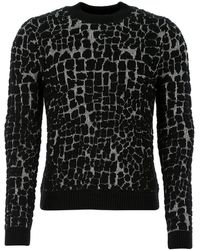 Saint Laurent Embroidered Wool Blend Jumper Nd Uomo - Black