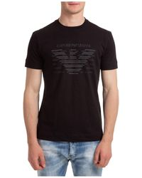 Emporio Armani Men's Short Sleeve T-shirt Crew Neckline Sweater - Black