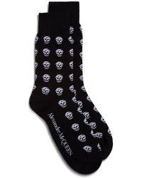 Alexander McQueen Skull-intarsia Cotton-blend Socks - Black