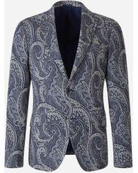 Etro Paisley Jersey Jacquard Blazer - Blue