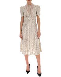 L'Autre Chose Printed Midi Dress - Natural