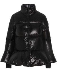 RED Valentino Redvalentino Lace-inserted Puffer Jacket - Black