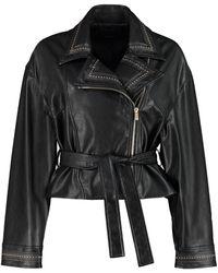 Pinko Stanco Faux Leather Biker Jacket - Black
