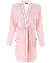 Balmain Monogram Jacquard Tie Belt Cardigan - Pink
