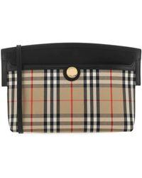 Burberry Society Vintage Check Clutch Bag - Black