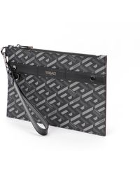 Versace Logo Detailed Zipped Clutch Bag - Multicolour