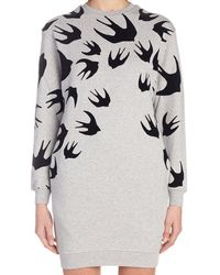 McQ Swallow Print Sweatshirt Dress - Gray