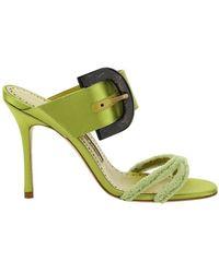 Manolo Blahnik Guey Buckle-detailed Sandals - Green