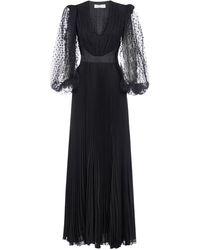 Givenchy V-neck Pleated Maxi Dress - Black