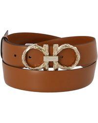 Ferragamo Adjustable Gancini Belt - Brown