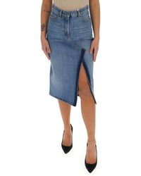 Valentino Side Slit Midi Denim Skirt - Blue