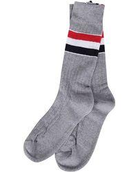 Thom Browne Striped Mid Calf Socks - Grey