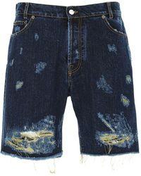 Buscemi Ripped Denim Shorts - Blue
