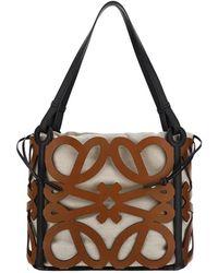 Loewe Anagram Cut-out Small Tote Bag - Brown