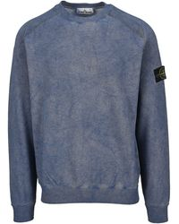 Stone Island Logo Patch Crewneck Sweatshirt - Blue