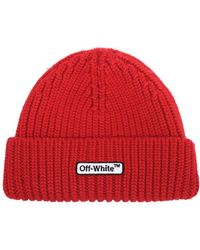 Off-White c/o Virgil Abloh - Red Logo Patch Beanie - Lyst