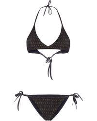 Fendi Ff Motif Bikini Set - Black