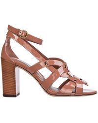 Tod's Leather Heel Sandals - Brown