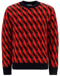 Ferragamo Geometric Jacquard Jumper - Red