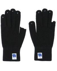 ADER error Fingerless Brand-embroidered Woven Gloves - Black