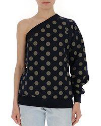 Max Mara One Sleeve Polka Dot Sweatshirt - Black