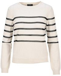 A.P.C. Cordelia Stripe Knit Sweatshirt - Natural
