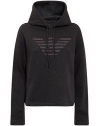 Emporio Armani Logo Detailed Drawstring Hoodie - Black