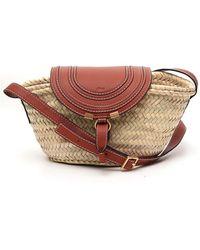 Chloé Marcie Small Basket Shoulder Bag - Natural