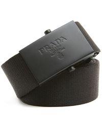 Prada - Logo Plate Belt - Lyst