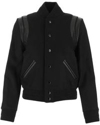 Saint Laurent Teddy Varsity Jacket - Black
