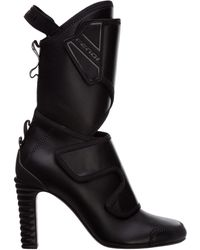 Fendi Women's Leather Heel'ankle Boots Booties Promenade - Black