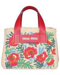 Miu Miu Embroidered Raffia Tote Bag